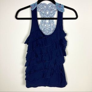 Navy Blue Racerback Tank w/Ruffles and Back Detail